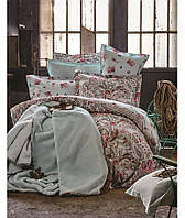 Набор постельное белье с пледом Karaca Home - Toledo 2017-1 turquise евро