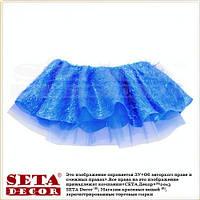 Синяя пышная детская новогодняя юбка карнавальная