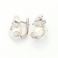 Золотые серьги c  бриллиантом, жемчугом