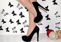 Шикарные женские туфли черные эко-замш, туфли черные на высоком каблуке