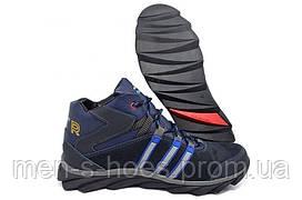 Зимние мужские кожаные спортивные ботинки  кроссовки Adidas Terrex Blue