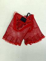 Перчатки митенки женские кожаные красные без пальцев, фото 1
