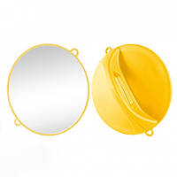 Зеркало ручное Ø28 см желтое