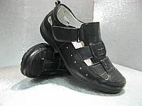 Туфли летние  подростковые чёрные кожаные  на мальчика 31р.36р.