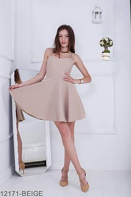 Жіноче бежеве коктейльне міні-плаття Iren