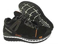 Зимние мужские кожаные  кроссовки Salomon Black, фото 1