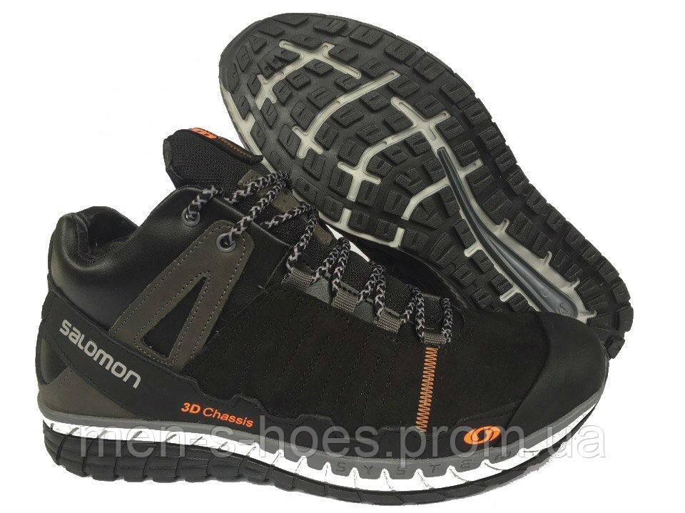 Зимние мужские кожаные  кроссовки Salomon Black