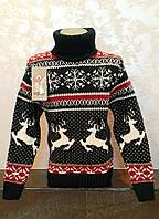 Вязаный синий свитер для девочек с Оленями