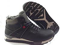 Спортивные мужские зимние кожаные черные  ботинки Columbia  Black