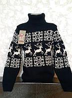 Вязаный свитер для девочек с Оленями