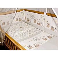 Комплект постельного белья в детскую кроватку Сова клетка (простынь на резинке)  хлопок ТМ Медисон Украина