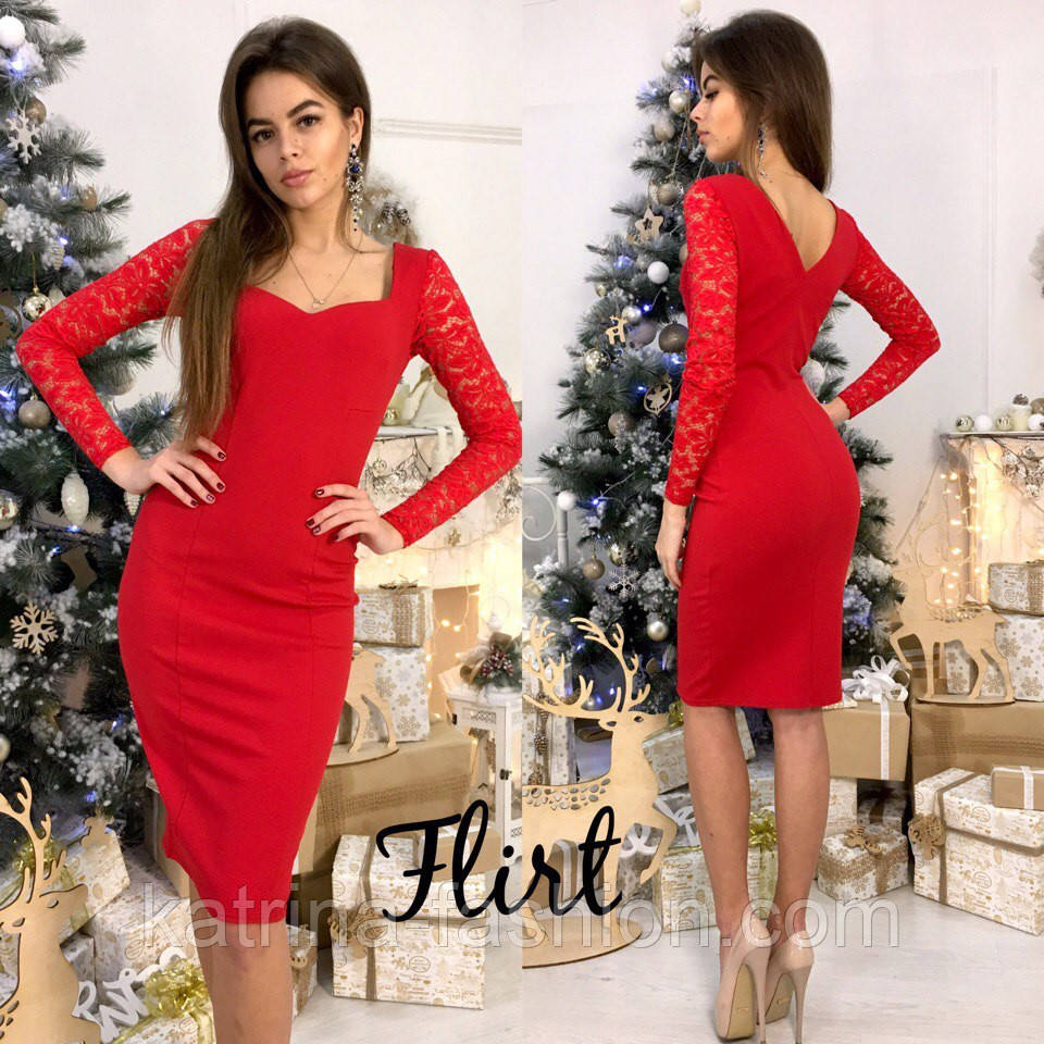 13ee13cf0a7 Женское стильное платье с кружевными рукавами (5 цветов) - KATRINA FASHION  - оптовый интернет