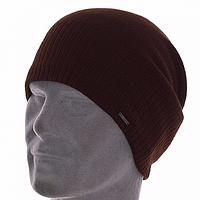 Мужская шапка чулок двойной вязки цвет коричневый