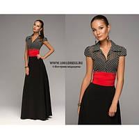 Платье черное горох красный пояс