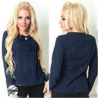 Женская шифоновая блуза с длинным рукавом темно-синего цвета. Размеры 42/44,44/46. Модель 11719.