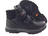 Зимние мужские кожаные черные ботинки для подростков на липучках, фото 1