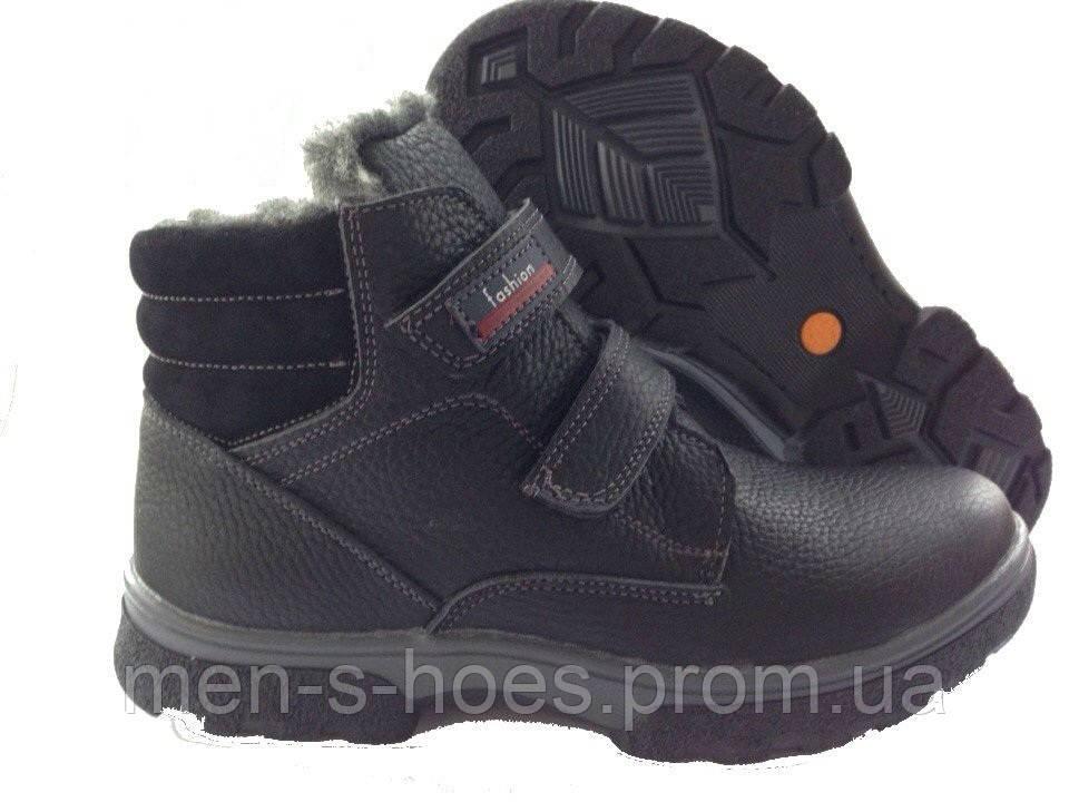 Зимние мужские кожаные черные ботинки для подростков на липучках