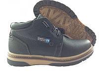 Черные зимние подростковые ботинки на мальчиков на шнуровке и молнии