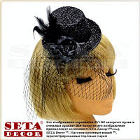 Чёрная шляпка с вуалью Бурлеск на заколках ретро