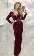 Бархатное бордовое платья в пол с запахом на завязках