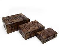 Набор деревянных шкатулок 3шт Розовое дерево