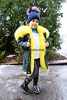 Шикарная зимняя парки с мехом финского песца лимонного цвета, фото 1