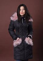 Женская зимняя куртка с капюшоном чёрного цвета