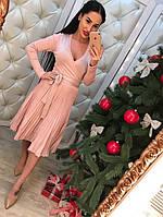 Женское нарядное платье плиссе с люрексом (3 цвета)