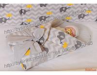 Детское постельное белье из 6 ед.(без балдахина и кармана)- Слоники-Зонтики, серия Organic Cotton