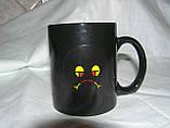 Кружка-чашка хамелеон Смайлик 2черная, фото 2