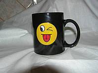 Кружка-чашка хамелеон Смайлик 2черная