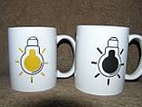 Кружка-чашка хамелеон Лампочка черная, фото 3