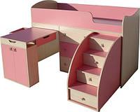 """Кровать-чердак для девочки фабричная """"Малыш"""""""