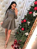 Женское модное трикотажное платье с жемчугом (2 цвета)