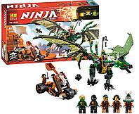 """10526  Конструктор Bela аналог LEGO Ninjago 70593 """"Зелёный энерджи дракон Ллойда"""" 603 д."""