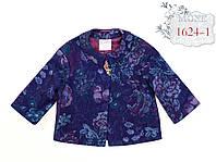 Жакет трикотаж, понтирома, принт розы фиолет, рукав 3 четверти, р. 140,146,152