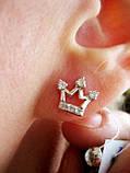Срібні цвяшки (пусети) Корона, фото 2