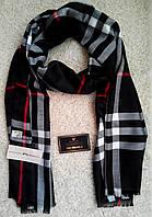 Красивый шарф/палантин Burbberry, Бёрберри (черный) с вышитыми логотипами