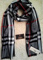 Красивый шарф/палантин Burbberry, Бёрберри (серый) с вышитыми логотипами