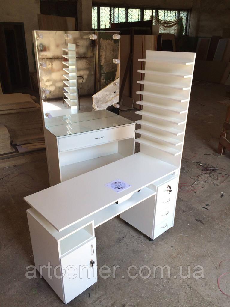 Стол для маникюра Профессионал, двухтумбовый, с полочками для лаков