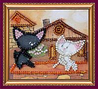 Набор-магнит для вышивки бисером «Коты на крыше»