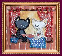 Набор-магнит для вышивки бисером «Коты за чаем»