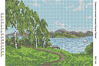 БА3-044 Пейзаж. Вишиванка. Схема на ткани для вышивания бисером