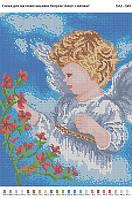 БА3-049 Ангел с цветами. Вишиванка. Схема на ткани для вышивания бисером