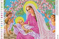 БА3-052 Богородица с младенцем и ангелами. Вишиванка. Схема на ткани для вышивания бисером