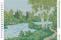 БА3-016 Берег возле реки. Вишиванка. Схема на ткани для вышивания бисером