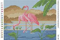 БА3-024 Розовые фламинго. Вишиванка. Схема на ткани для вышивания бисером