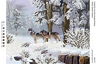 БА3-131 Волки. Зимняя поляна. Вишиванка. Схема на ткани для вышивания бисером