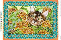БА3-146 Котик в цветах. Вишиванка. Схема на ткани для вышивания бисером