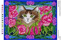 БА3-157 Взгляд из цветов. Вишиванка. Схема на ткани для вышивания бисером